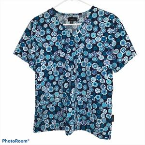 Peaches Blue Geometric Medium Scrub Top